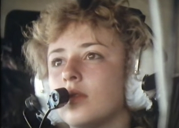 Sara Throssel watching the refueling while in flight