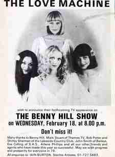Advertisement for Love Machine appearance on The Benny Hill Show.