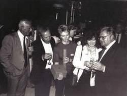 Left to Right: Unknown, Dennis Kirkland, Fizz Waters, Lorraine Doyle and Benny at a Thames Television Awards Ceremony.